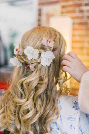 Half-Up Hairstyle with Orchids and Braids