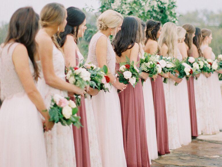 Bridesmaids lined up at altar