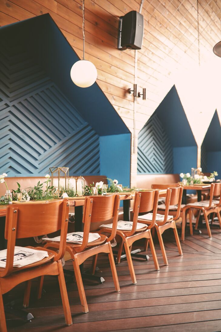 Dining Tables at Modern Restaurant with Geometric Details