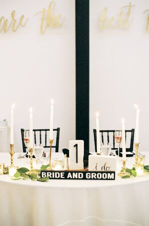 Vintage Brass Candlesticks and White Taper Candles