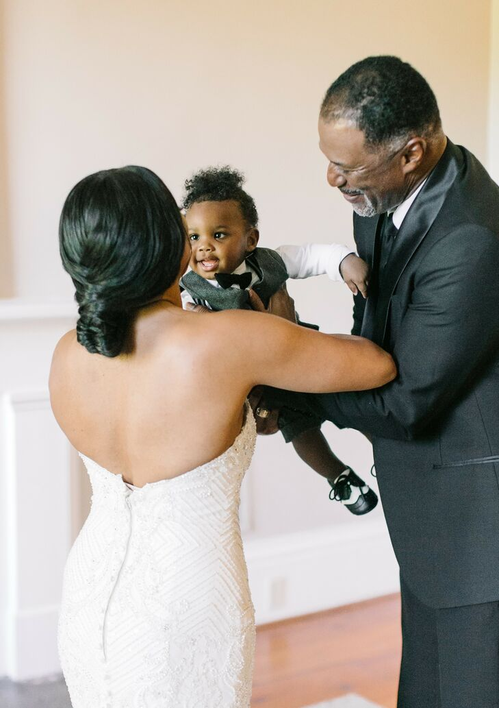Bride with Son at Wedding at The Lace House in Columbia, South Carolina