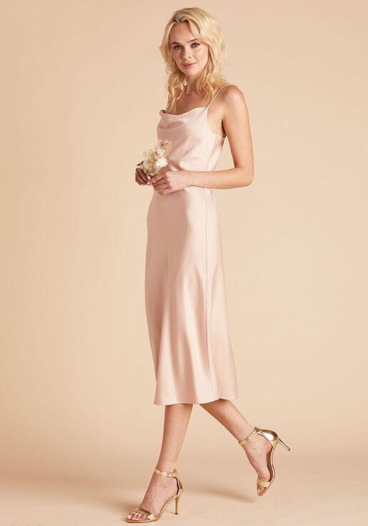 Birdy Grey Lisa Satin Midi Dress in Rose Gold Scoop Bridesmaid Dress