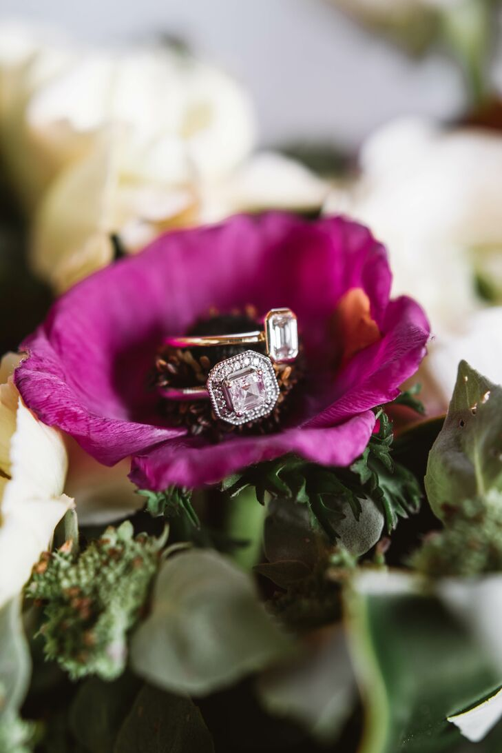 Engagement Rings Displayed in Fuchsia Flower