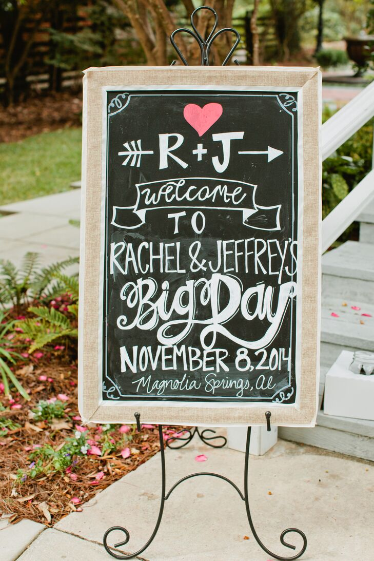 The bride and groom incorporated chalkboard art throughout their wedding ceremony and reception, to play up their outdoor rustic theme.  Guests were greeted by a chalkboard welcome sign, and mini chalkboard signs decorated the wine and beer bar as well as the welcome table.