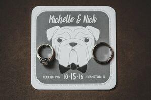 Black-and-White Coaster with Dog Illustration