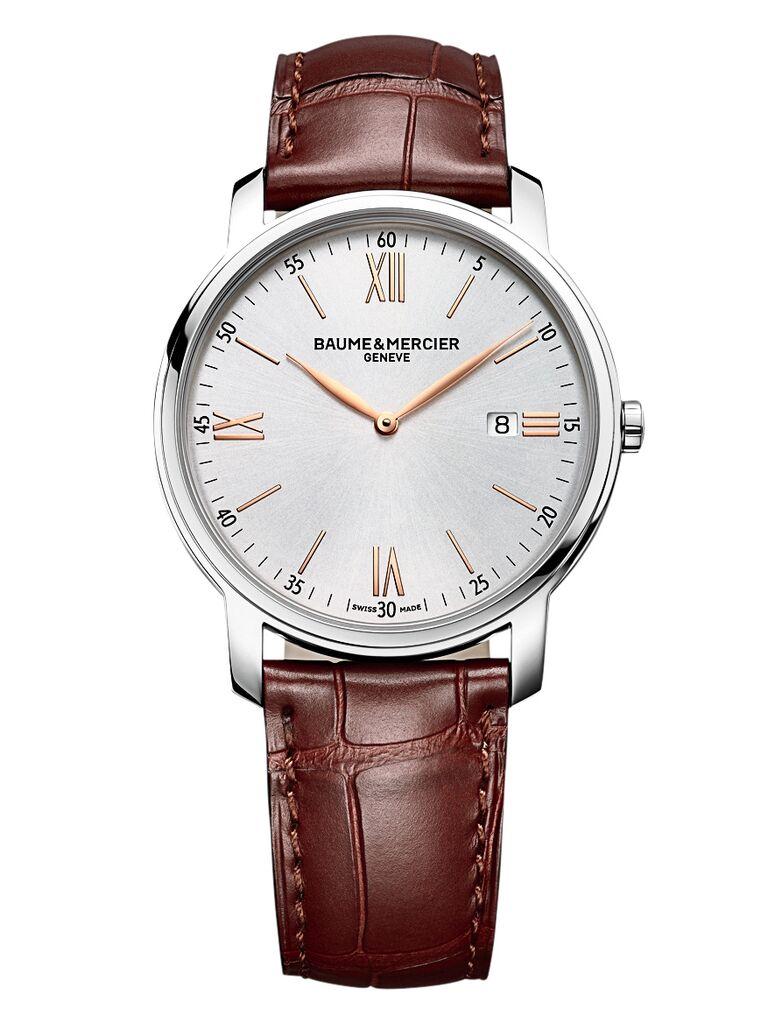 Alligator leather brown watch Baume et Mercier