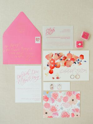Vibrant Pink and Orange Floral Invitation Suite
