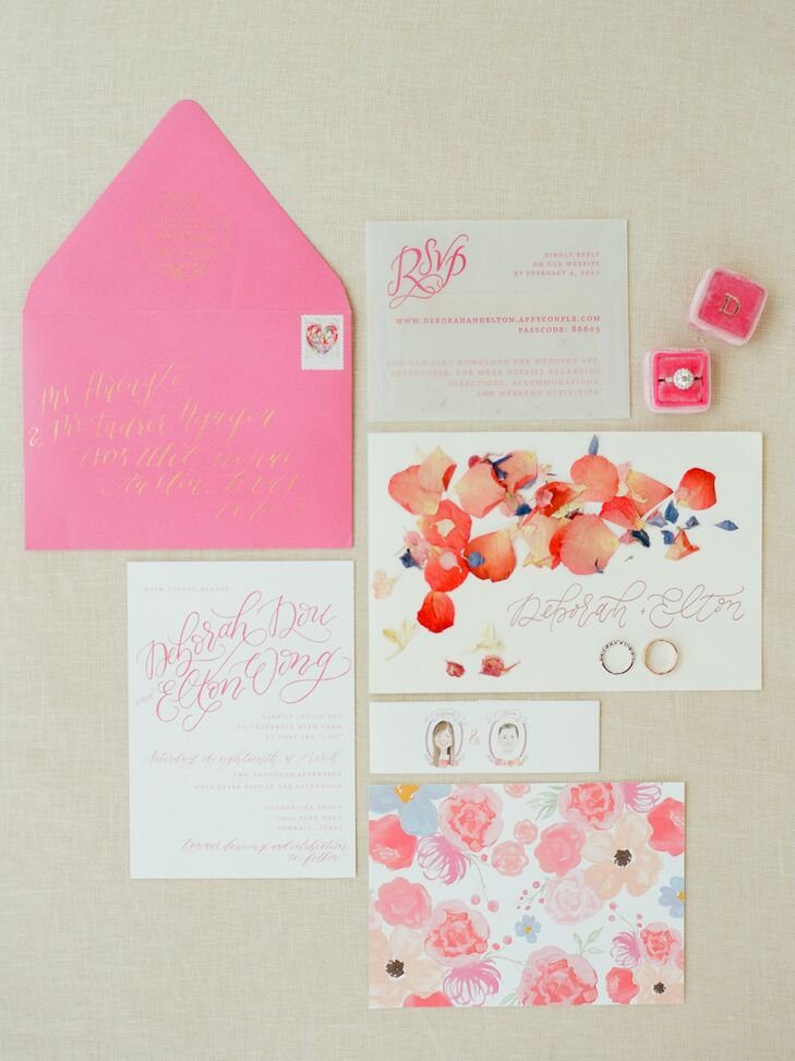 """JRCro helped craft Deborah and Elton's colorful invitation suite. """"We had invitations with a watercolor floral design and vellum RSVP cards filled with flower petals,"""" Deborah says. It was held together with by a band with portraits of Elton and me created by our invitation designer, which made it unique and playful."""""""