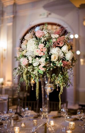 Tall Centerpiece with Amaranthus, Hydrangeas, Astilbes and Roses