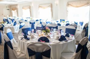 White and Navy Table and Chair Linens