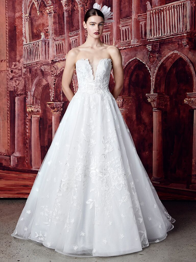 Isabelle Armstrong strapless ballgown with floral appliques