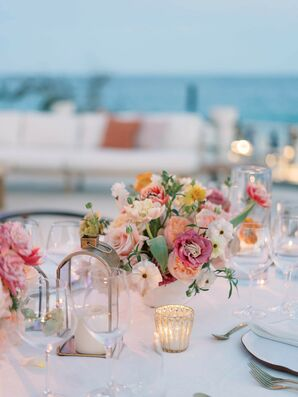 Colorful Centerpieces for Beachside Wedding in Cabo San Lucas, Mexico