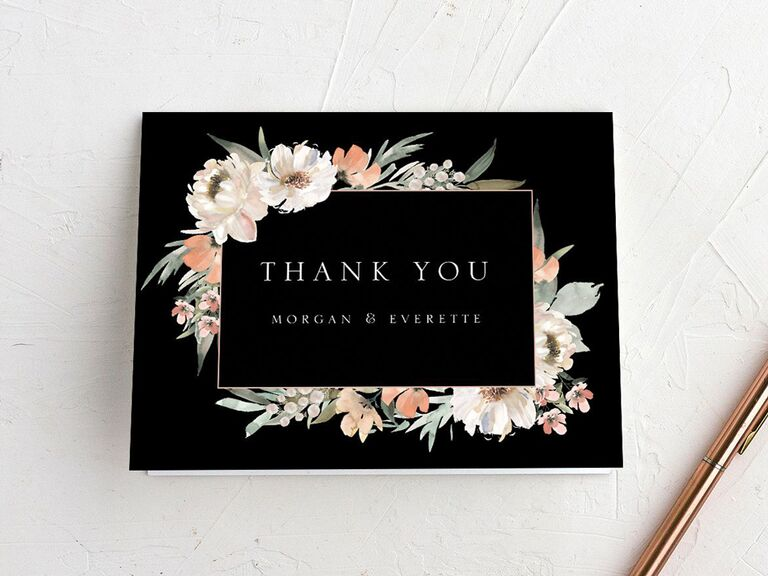 floral wedding thank-you card with couple names