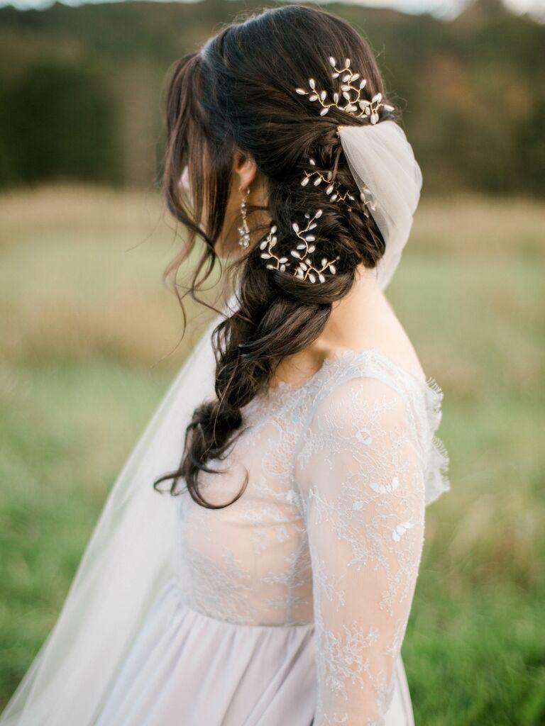 Wedding updo braid with pins