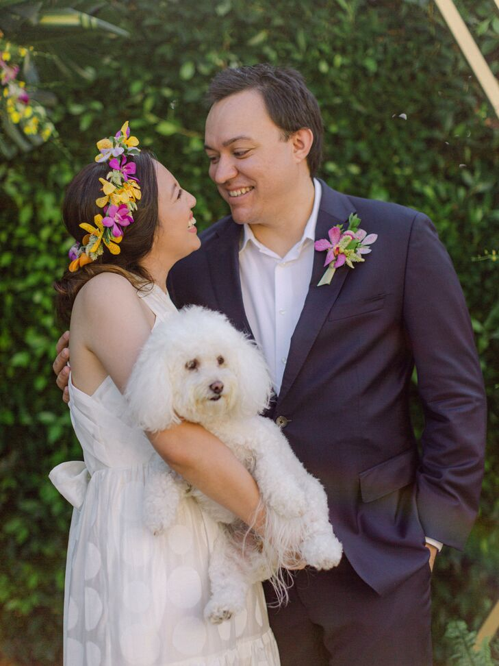 Bride and Groom with Dog at Backyard Minimony in Southern California