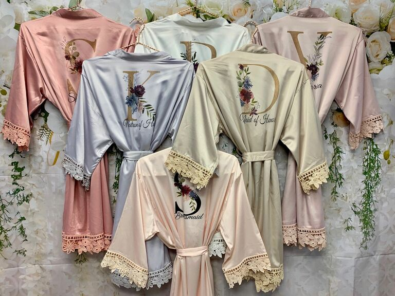 personalized satin bridesmaid robes