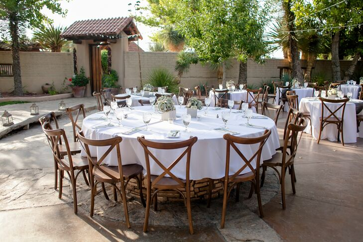 Round Dining Tables and Rustic Cross-Back Chairs