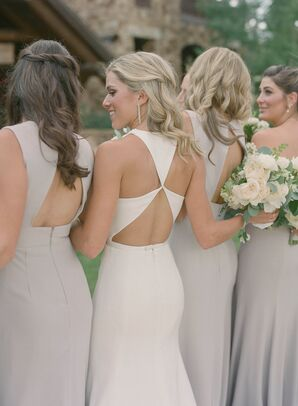 Traditional Bride and Bridesmaids with Open-Back Dresses