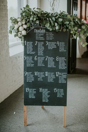 Eucalyptus Adorned Chalkboard Seating Chart