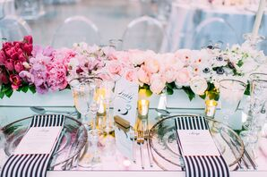 Ombre Centerpieces and Black-and-White Linens