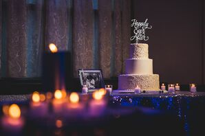 """White Fondant Cake with """"Happily Ever After"""" Topper"""