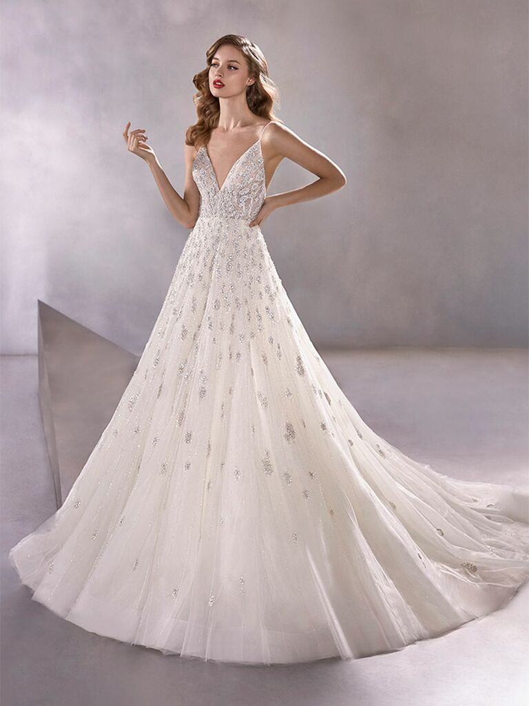 Atelier Provonias wedding dress tulle beaded ball gown