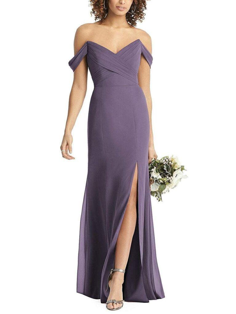 Dark lavender bridesmaid dress