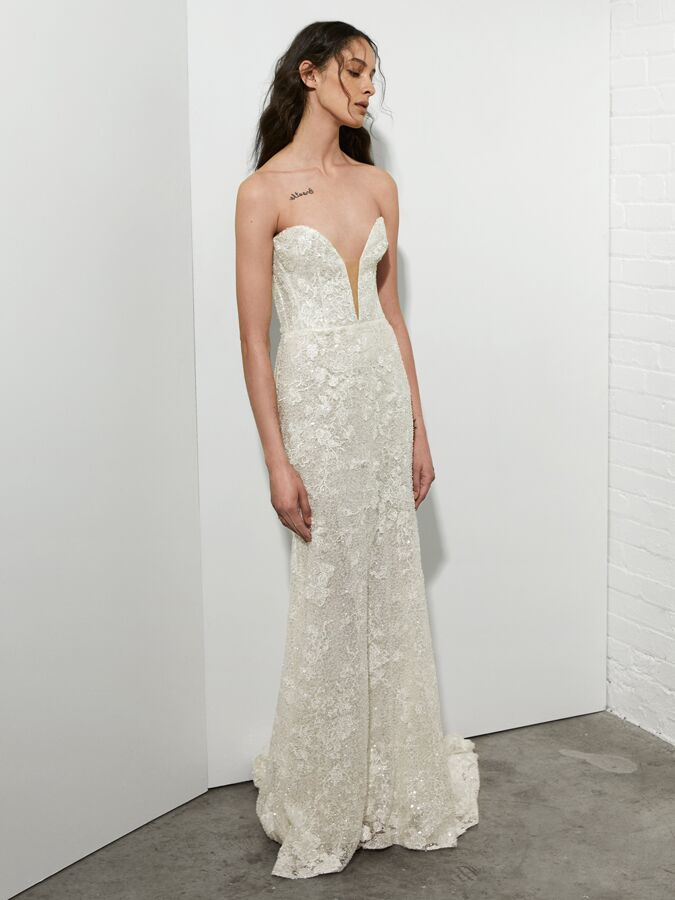 Rivini strapless embroidered lace sheath wedding dress