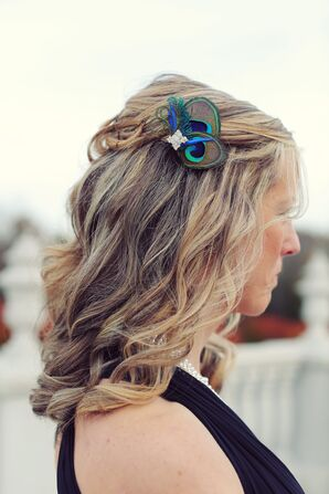 Jeweled Peacock Feather Bridesmaid Hair Accessory