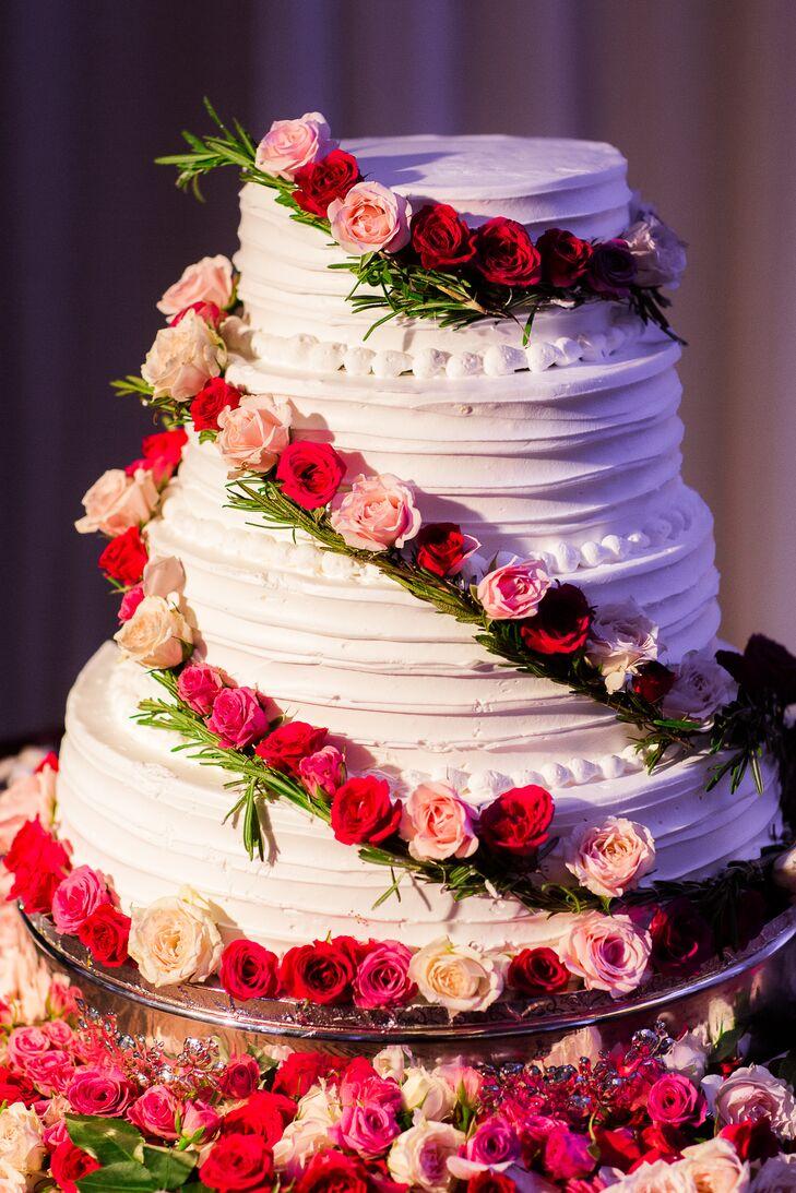 Cascading Rose Wedding Cake