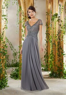 MGNY 71912 Gray Mother Of The Bride Dress