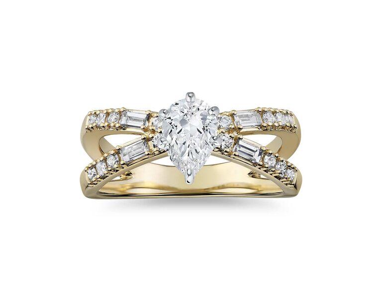 Blue Nile dot dash split shank diamond engagement ring
