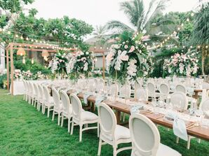 Tropical Reception with Tall Centerpieces at Baba Beach Resort in Thailand