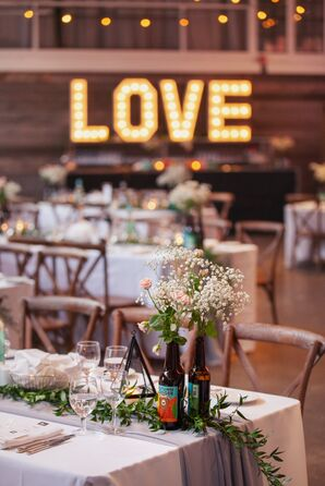 Baby's Breath and Craft Beer Bottle Centerpieces