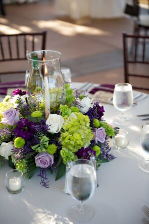 Purple, Green and White Flower Centerpieces