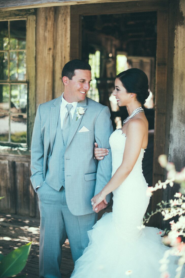 """""""Groomsmen wore light grey traditional tux's. Sean's tie was a light grey vintage stripe and the groomsmen wore dark grey vintage stripe ties."""""""