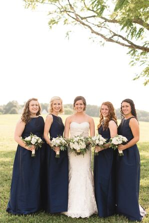 Floor-Length Navy Bridesmaid Dresses
