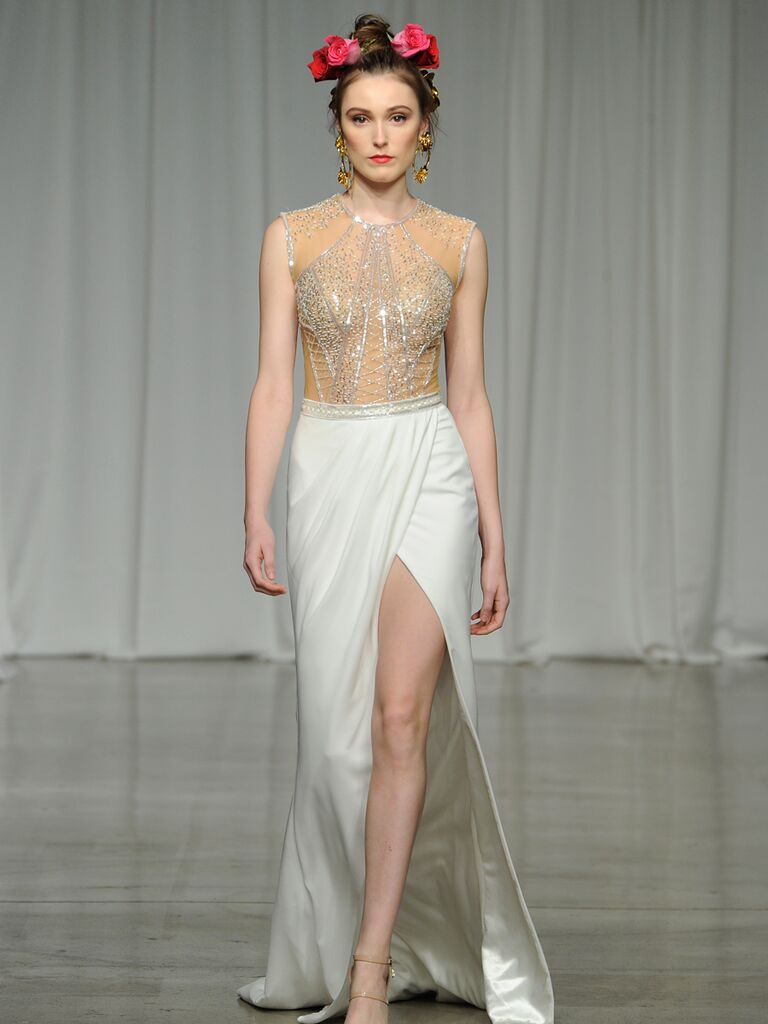 Julie Vino Spring 2019 two-tone wedding dress with an embellished bodice and high-slitted skirt