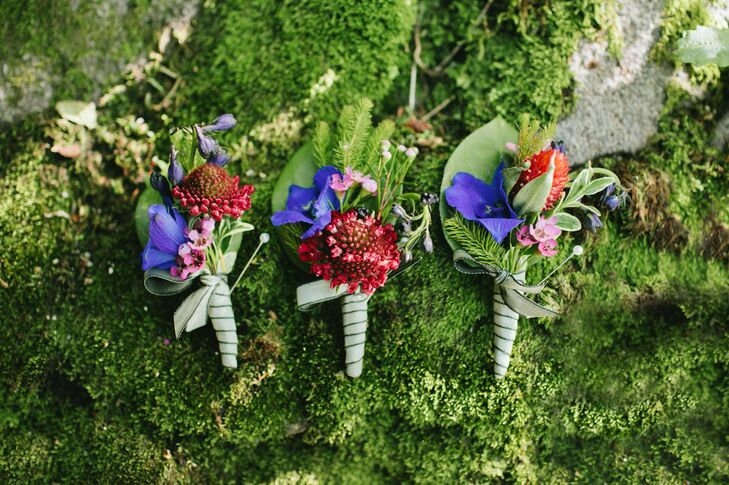 Jewel-Tone Wildflower Boutonnieres