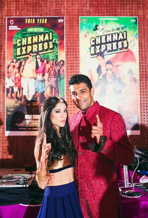 Bollywood-Themed Sangeet Party With Custom Movie Posters