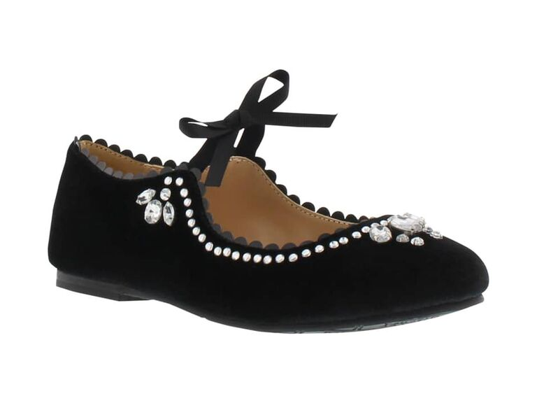 Embellished black flower girl shoes