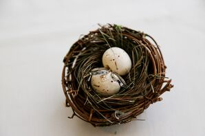 Palladium, Sapphire and Diamond Engagement Rings in Nest