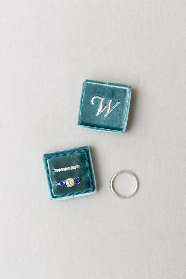 Teal Velvet Ring Box with Custom Monogram
