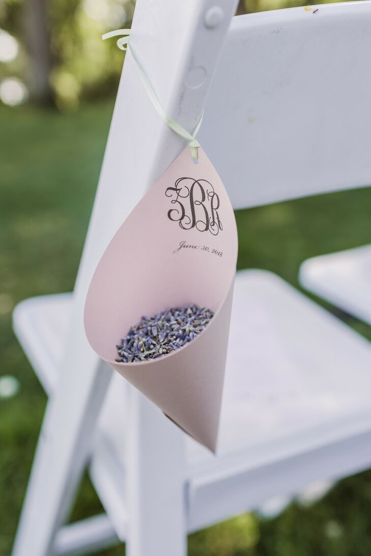 Dried Lavender in  Monogrammed Paper Cone