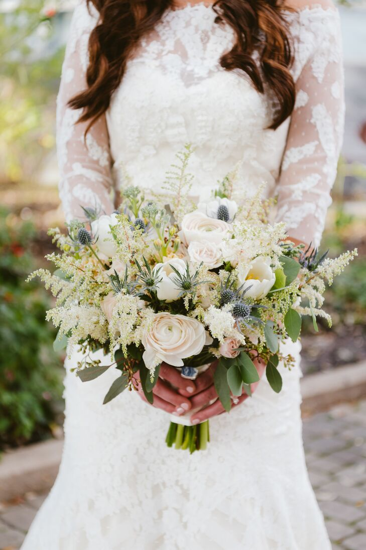 Rustic Astilbe, Rose and Thistle Bouquet