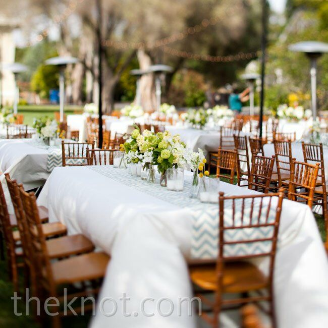 Crisp white linens (with custom blue chevron runners) were just enough for the outdoor setting.