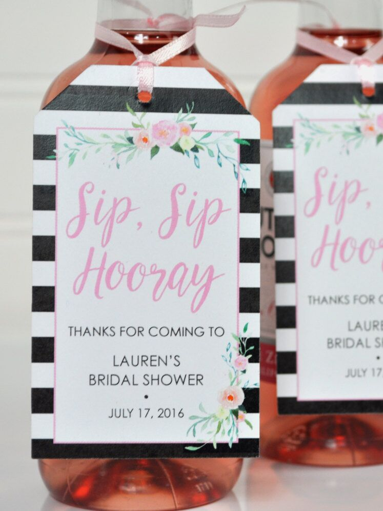 mini wine bottle tags for a cute bridal shower favor