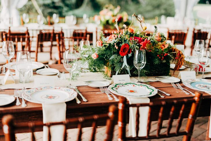 Lush Fern and Coral Mixed Floral Centerpieces