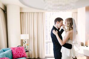 Groom and Bride in Peplum Wedding Dress Dance in Chicago Hotel
