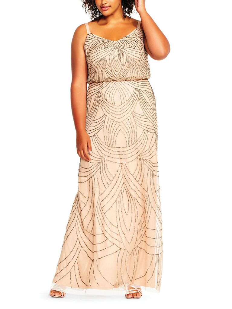 Blush rose gold sequin bridesmaid dress in plus sizes